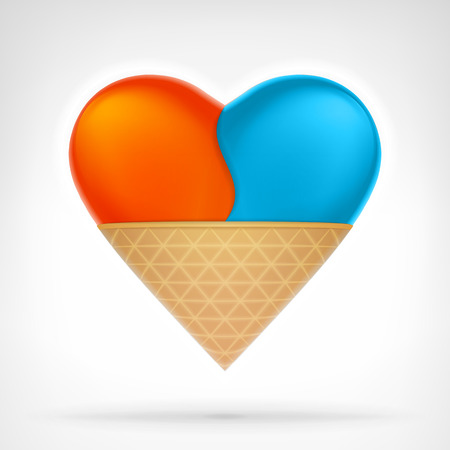 I love ice cream concept as snack designed as heart shape isolated vector illustration on white background Vector