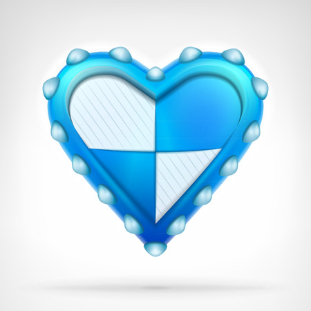 armored safes: defense shield of love concept as armored blue heart design isolated vector illustration on white background Illustration
