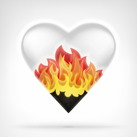 burning love: burning love concept as heart shape in blazing flames design isolated vector illustration on white background