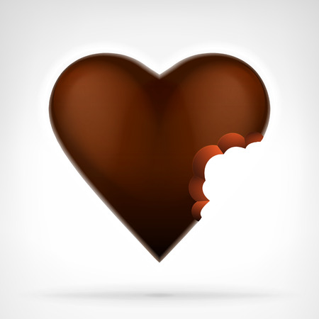 bitten: I love candy concept as bitten brown chocolate heart design isolated vector illustration on white background