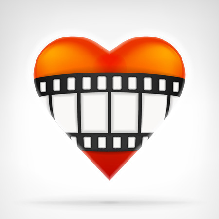 fil: I love movies concept as fil strip on red heart icon design isolated vector illustration on white background