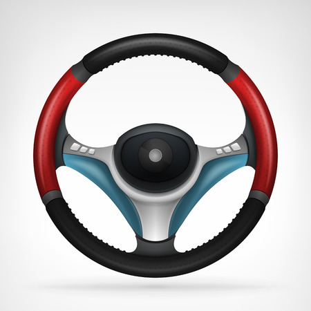 racing steering wheel with red side handle isolated in top view vector graphic design isolated on white background Vector