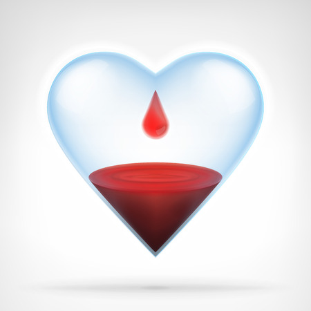 heart glass with blood liquid and drop from top graphic design isolated vector illustration on white background Vectores