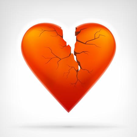 corazon roto: corazón rojo con el ataque al corazón hendidura de arriba aislado diseño gráfico ilustración vectorial sobre fondo blanco Vectores