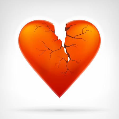 broken love: red heart with cleft heart attack from top graphic design isolated vector illustration on white background Illustration