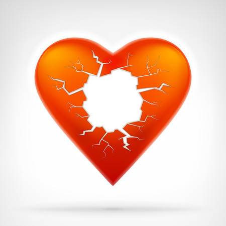 red heart with cracked hole as text space template graphic design isolated vector illustration on white background Illustration