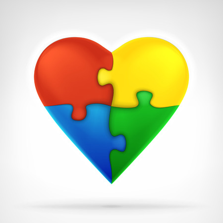 심장 흰색 배경에 창조적 인 솔루션 그래픽 디자인 격리 된 벡터 일러스트 레이 션으로 네 개의 퍼즐 조각 모양의 일러스트