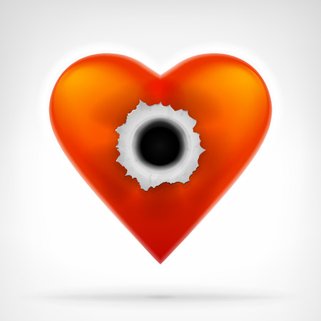 top gun: red heart with bullet hole in the middle graphic design isolated vector illustration on white background