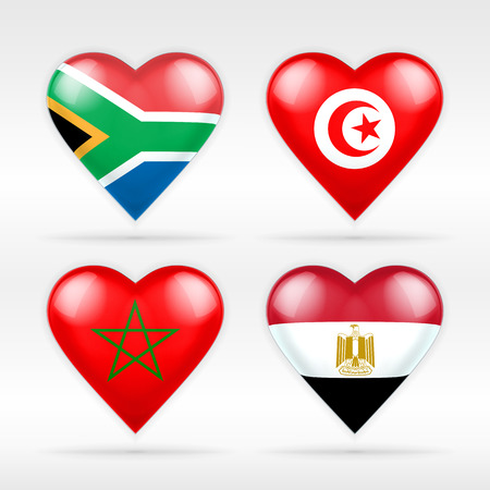 South Africa, Tunisia, Morocco and Egypt heart flag set of Asian states collection of isolated vector state flags icon elements on white