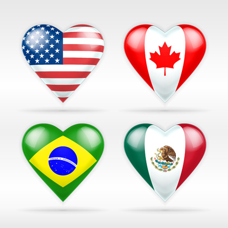 USA, Canada, Brazil and Mexico heart flag set of American states collection of isolated vector state flags icon elements on white Vector