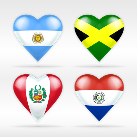 serie: Argentina, Jamaica, Peru and Paraguay heart flag set of American states collection of isolated vector state flags icon elements on white Illustration