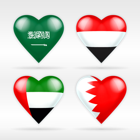 serie: Saudi Arabia, Yemen, United Arab Emirates and Bahrain heart flag set collection of isolated vector state flags icon elements on white