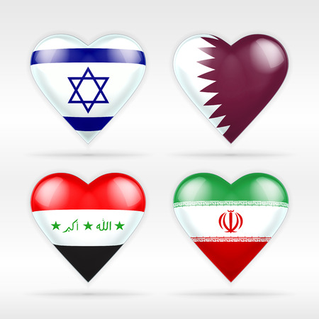 serie: Israel, Qatar, Iraq and Iran heart flag set of Asian states collection of isolated vector state flags icon elements on white