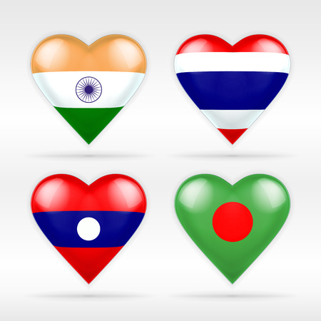 India, Thailand, Laos and Bangladesh heart flag set of Asian states collection of isolated vector state flags icon elements on white