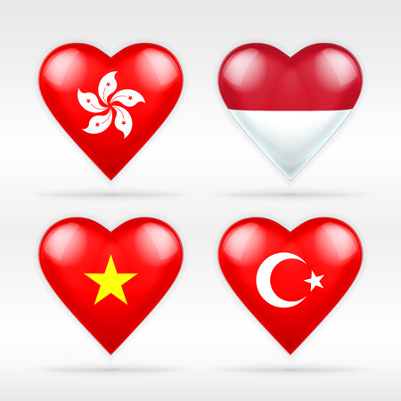 Hong Kong, Indonesia, Vietnam and Turkey heart flag set of Asian states collection of isolated vector state flags icon elements on white Vector