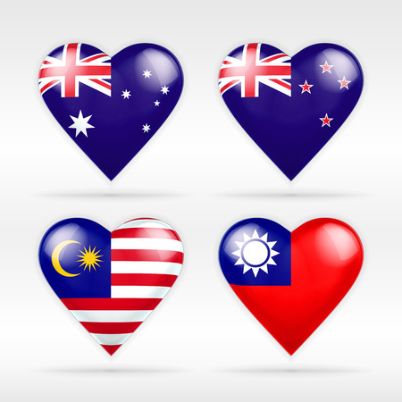 Australia, New Zealand, Malaysia and Taiwan heart flag set of national states collection of isolated vector state flags icon elements on white