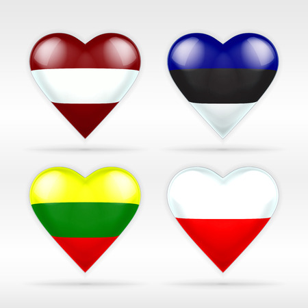 Latvia, Estonia, Lithuania and Poland heart flag set of European states collection of isolated vector state flags icon elements on white Illustration
