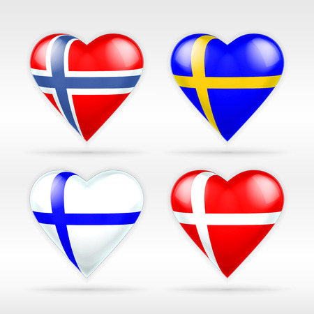 Norway, Sweden, Finland and Denmark heart flag set of European states collection of isolated vector state flags icon elements on white Illustration