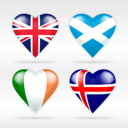 serie: United Kingdom, Scotland, Ireland and Iceland heart flag set of European states collection of isolated vector state flags icon elements on white