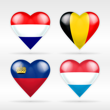 Netherlands, Belgium,  Lichtenstein and Luxembourg heart flag set of European states collection of isolated vector state flags icon elements on white Illustration