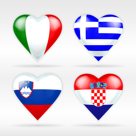 Italy, Greece, Slovenia and Croatia heart flag set of European states collection of isolated vector state flags icon elements on white Vector