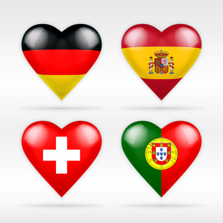 serie: Germany, Spain, Switzerland and Portugal heart flag set of European states collection of isolated vector state flags icon elements on white Illustration