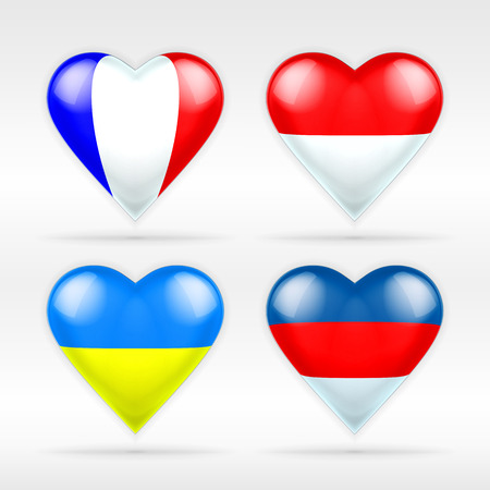 serie: France, Monaco, Ukraine and Russia heart flag set of European states collection of isolated vector state flags icon elements on white