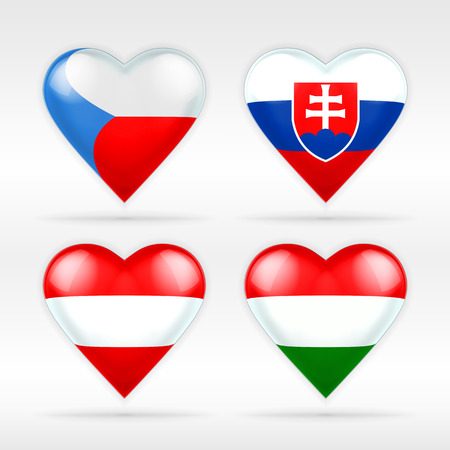 Czech, Slovakia, Austria and Hungary heart flag set of European states collection of isolated vector state flags icon elements on white