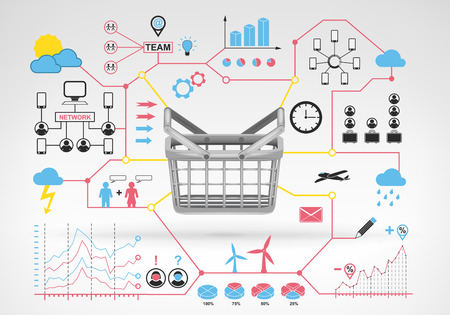 empty basket: shopping empty basket with blue red infographic icons and graphs around vector background for web and media design collection illustration