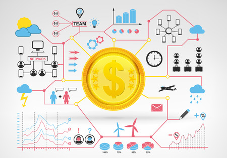 Dollar coin earnings with blue red infographic icons and graphs around vector background for web and media design collection illustration Vector