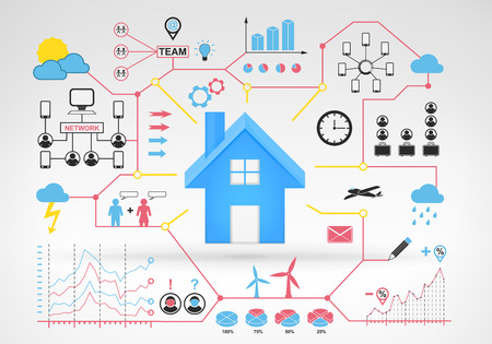 real estate house with blue red infographic icons and graphs around vector background for web and media design collection illustration Vector