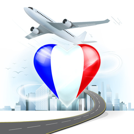 highway love: travel and transport concept with France flag on heart vector illustration with cityscape background Illustration