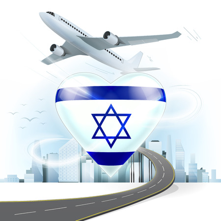 bird of israel: travel and transport concept with Israel flag on heart vector illustration with cityscape background
