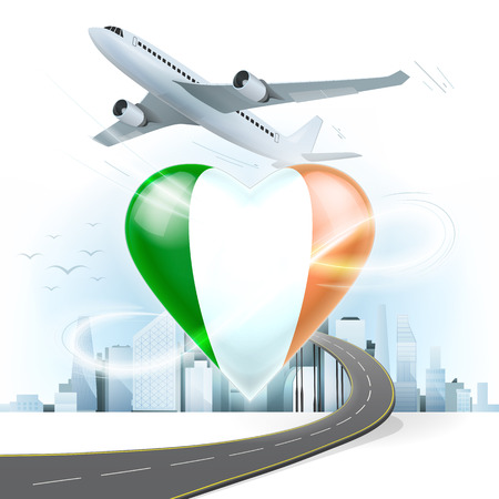 irish cities: travel and transport concept with Ireland flag on heart vector illustration with cityscape background