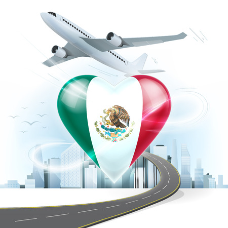 highway love: travel and transport concept with Mexico flag on heart vector illustration with cityscape background