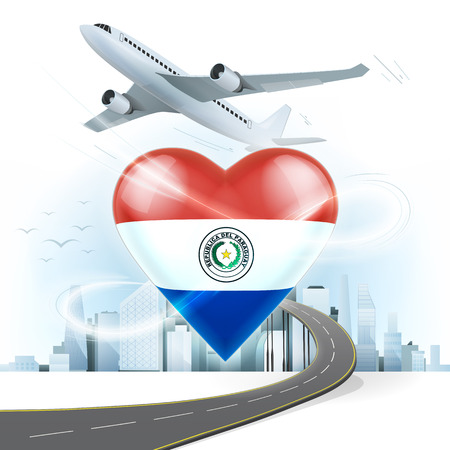 bandera de paraguay: concepto de viaje y transporte, con bandera de Paraguay en la ilustraci�n vectorial coraz�n con el fondo del paisaje urbano