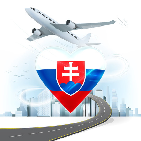slovakian: travel and transport concept with Slovakia flag on heart vector illustration with cityscape background Illustration