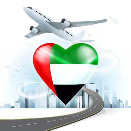 都市景観の背景を持つ心ベクトル イラストにアラブ首長国連邦旗と旅行および交通機関の概念