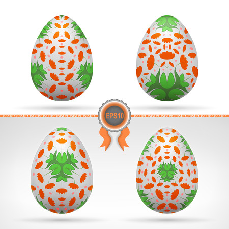 serie: easter theme vector illustration with orange label