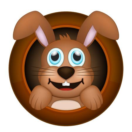 rabbit hole: animal vector illustration isolated on white