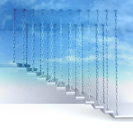 hanged: chain hanged stair steps to go up to sky render illustration Stock Photo
