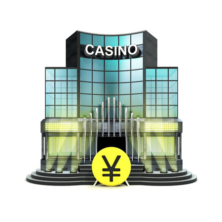 yuan: yuan currency in front of isolated illuminated casino illustration Stock Photo