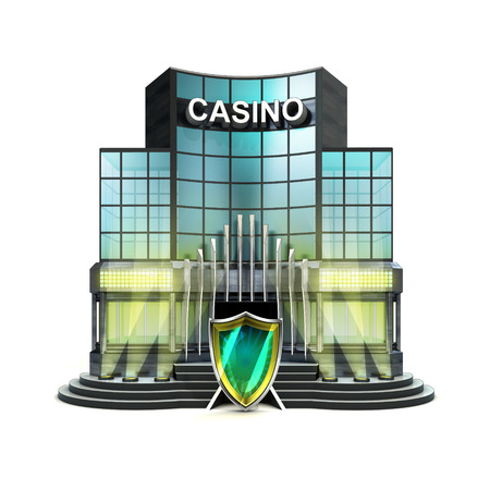 defensive: protective shield in front of isolated illuminated casino illustration Stock Photo