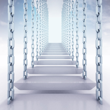 hanged: chain hanged staircase steps to go up to sky render illustration