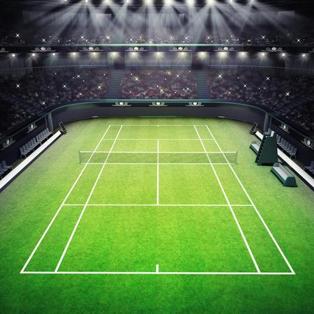 草テニス裁判所およびスポット ライト テニス スポーツをテーマにした観客でいっぱいスタジアム レンダリング イラスト背景