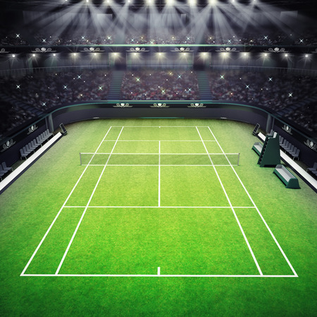 challenge: grass tennis court and stadium full of spectators with spotlights tennis sport theme render illustration background