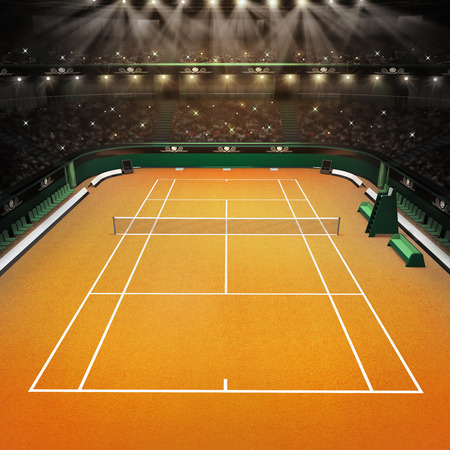 indoor court: clay tennis court and stadium full of spectators with spotlights tennis sport theme render illustration background Stock Photo