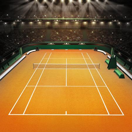 tenis: pista de tenis y estadio lleno de espectadores con focos de tenis deporte tema hacer ilustración de fondo de arcilla Foto de archivo
