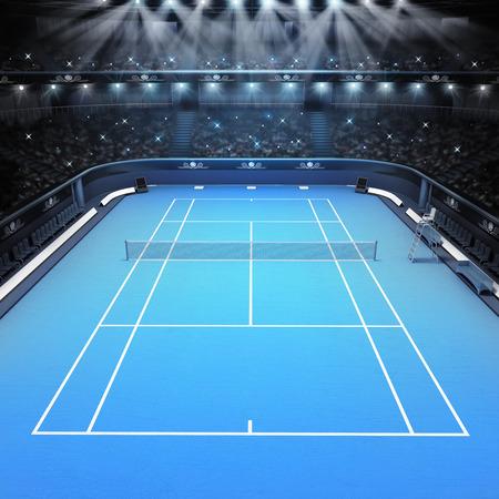 blue hard surface tennis court and stadium full of spectators with spotlights tennis sport theme render illustration background Stockfoto