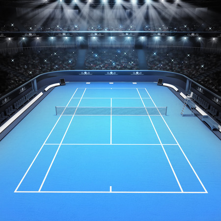 indoor court: blue hard surface tennis court and stadium full of spectators with spotlights tennis sport theme render illustration background Stock Photo